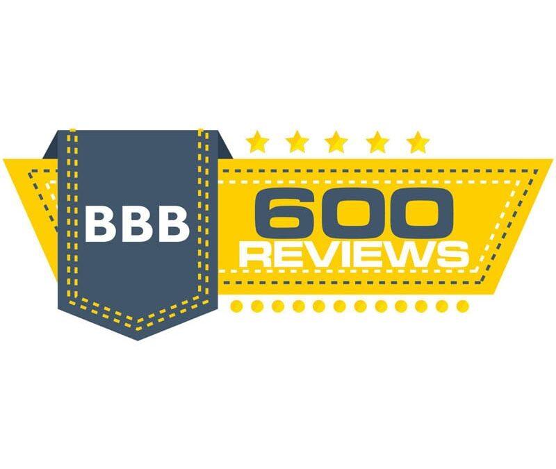 600 BBB Reviews